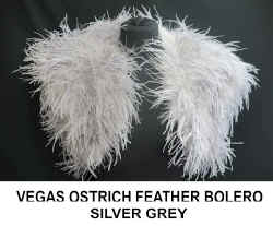VEGAS OSTRICH FEATHER BOLERO. SILVER GREY.jpg (42078 bytes)